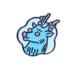 Sika deer soft enamel badge