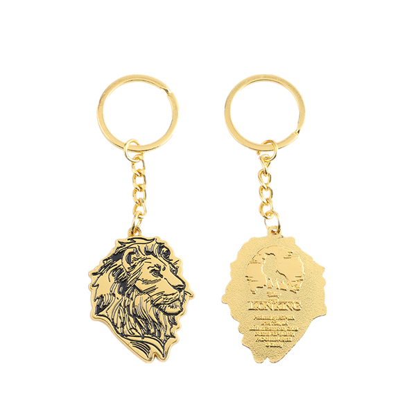 Lion head gold keychains