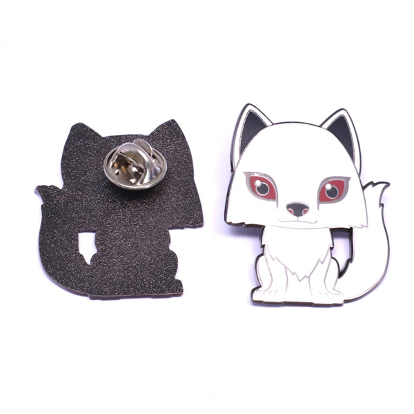 white cat badge